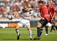 Fotball<br /> Frankrike<br /> Foto: DPPI/Digitalsport<br /> NORWAY ONLY<br /> <br /> FOOTBALL - FRENCH CHAMPIONSHIP 2009/2010 - L1 - LILLE OSC v FC LORIENT - 9/08/2009<br /> <br /> MAXIME BACA (LOR) / YOHAN CABAYE (LIL)