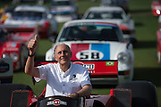 March 11-13, 2016 Amelia Island. Hans-Joachim Stuck sits with some of his race winning race cars.