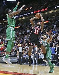 November 22, 2017 - Miami, FL, USA - The Miami Heat's Dion Waiters (11) shoots in the second half against the Boston Celtics at the AmericanAirlines Arena in Miami on Wednesday, Nov. 22, 2017. The Heat won, 104-98. (Credit Image: © Al Diaz/TNS via ZUMA Wire)