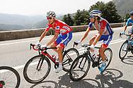 Rudy Molard (FRA - Groupama - FDJ) red jersey, Thibaut Pinot (FRA - Groupama - FDJ) , during the UCI World Tour, Tour of Spain (Vuelta) 2018, Stage 9, Talavera de la Reina - La Covatilla 200,8 km in Spain, on September 3rd, 2018 - Photo Luis Angel Gomez / BettiniPhoto / ProSportsImages / DPPI