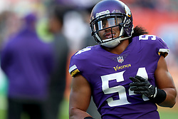 Minnesota Vikings' Eric Kendricks during warm-up before during the International Series NFL match at Twickenham, London. PRESS ASSOCIATION Photo. Picture date: Sunday October 29, 2017. See PA story GRIDIRON London. Photo credit should read: Simon Cooper/PA Wire. RESTRICTIONS: News and Editorial use only. Commercial/Non-Editorial use requires prior written permission from the NFL. Digital use subject to reasonable number restriction and no video simulation of game.