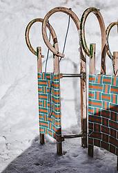 THEMENBILD - Rodeln am Rande einer Rodelbahn, aufgenommen am 14. Februar 2019 in Dienten, Oesterreich // Tobogganing on the edge of a toboggan run, in Dienten, Austria on 2019/02/14. EXPA Pictures © 2019, PhotoCredit: EXPA/Stefanie Oberhauser