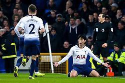 Son Heung-Min of Tottenham Hotspur celebrates scoring a goal to make it 1-1 - Mandatory by-line: Robbie Stephenson/JMP - 23/12/2018 - FOOTBALL - Goodison Park - Liverpool, England - Everton v Tottenham Hotspur - Premier League