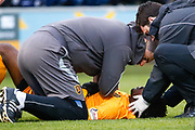 Steve Lawson of Livingston receives treatment following a nasty collision during the Ladbrokes Scottish Premiership match between St Mirren and Livingston at the Simple Digital Arena, Paisley, Scotland on 2nd March 2019.