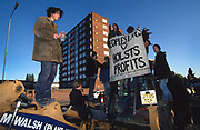 Road Protest actions around the M65 extension. This involved protecting and squatting a group of houses, and also squatting treehouses in the forest at  Stanworth Valley Preston Lancashire. 1995<br /><br />The British Road Protesters movement began in the early 1990s when the Donga tribe squatted Twyford Down to save this beautiful site, a site of scientific interest SSI from the Ministry of transport's road building programme which threatened to destroy the landscape. The Dongas was the name of the ancient walkways, the paths trodden in the middle ages by people walking down to Winchester. A small tribe were joined by people of all walks of life who came to Twyford Down to defend it. A long hard battle over several years ended in the 'cutting' a new motorway built through this ancient monument and destroying it. <br /><br />The Road Protest movement in Britain continued for many years and more battles were fought in London against the MII both at Wanstead then in Leytonstone, and subsequently at Newbury, and in Sussex. the protesters were very inventive in their use of non violent peaceful direct action. They barricaded themselves into squats, made tree houses, tunnels and have huge demonstrations against the bailliffs, police and security who tried to force their way through the defences of this alternative environmental popular movement. Many of the roads were built eventually and many sites of great beauty lost, but the government had to stand down from its road building policy and eventually the programme was halted. the protests cost the government billions. Out of that movement grew many environmental NGOs who have to this day kept fighting for ecological and sustainable environmental solutions rather than following the cult of the car, petrol and roadbuilding..
