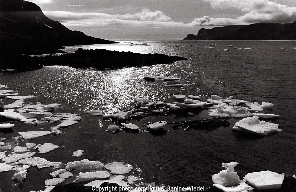 ILandscape with cebergs in the Canadian Arctic settlement of Pangnirtung in the territory of Nunavut (North West Territories) 1973