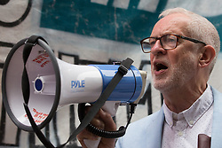 London, UK. 5th July, 2021. Former Labour Party leader Jeremy Corbyn addresses health workers and supporters at a rally organised by Doctors in Unite outside the Department of Health and Social Care. The rally was organised to mark the 73rd birthday of the National Health Service and in protest against the sale of one of the UK's biggest GP practice operators to the US health insurance group Centene Corporation.