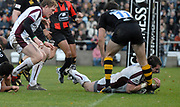Wycombe. GREAT BRITAIN, Tigers,  Shane JENNINGS, touches down, in the first half, during the, Guinness Premiership game between, London Wasps and Leicester Tigers on 25/11/2006, played at  Adams<br />  Park,<br />  ENGLAND. Photo, Peter Spurrier/Intersport-images]