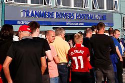 A general view as Liverpool fans queue outside Prenton Park ahead of the annual pre-season fixture between the 2 clubs - Mandatory by-line: Matt McNulty/JMP - 12/07/2017 - FOOTBALL - Prenton Park - Birkenhead, England - Tranmere Rovers v Liverpool - Pre-season friendly