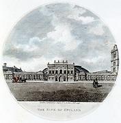 Façade of The Bank of England, London. Hand-coloured engraving 1796