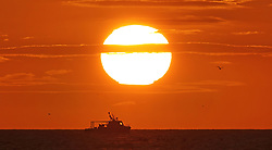 A fishing boat on the Horizon heads back to port as the sun rises near Tynemouth on the North East coast.