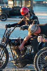 Atsushi (Sushi) Yasui of Freewheelers and Company in Japan on his hot-rod Harley-Davidson UL (in a 36 VL frame) at the The Race of Gentlemen. Wildwood, NJ, USA. October 11, 2015.  Photography ©2015 Michael Lichter.