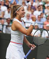 Tennis - 2019 Wimbledon Championships - Week Two, Tuesday (Day Eight)<br /> <br /> Women's Singles, Quarter-Final: Elina Svitolina (UKR) v Karolina Muchova (CZE)<br /> <br /> Karolina Muchova on Court 1.<br /> <br /> COLORSPORT/ANDREW COWIE