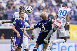 May 20, 2018 - Brussels, BELGIUM - Anderlecht's Olivier Deschacht and Genk's Aly Mbwana Samatta fight for the ball during the Jupiler Pro League match between RSC Anderlecht and KRC Genk, Sunday 20 May 2018 in Brussels, on the tenth and last day of the Play-Off 1 of the Belgian soccer championship. BELGA PHOTO LAURIE DIEFFEMBACQ (Credit Image: © Laurie Dieffembacq/Belga via ZUMA Press)