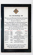 Memorial monument to William Henry Ludlow Gale, lieutenant Royal Navy died onboard HMS Thalia 1888 in the church at Milton Lilbourne, Wiltshire, England listing his 21 years of service between the ages of 13 to 34 and burial at sea in the Indian Ocean .