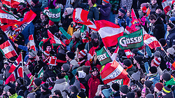 """29.01.2019, Planai, Schladming, AUT, FIS Weltcup Ski Alpin, Slalom, Herren, im Bild Fans mit wehenden Fahnen // Fans with waving flags during the men's Slalom """"the Nightrace"""" of FIS ski alpine world cup at the Planai in Schladming, Austria on 2019/01/29. EXPA Pictures © 2019, PhotoCredit: EXPA/ Stefanie Oberhauser"""
