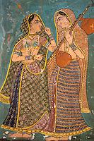 Inde. Rajasthan. Bundi. Peinture murale dans le palais. // India. Rajasthan. Bundi. Painting inside the palace.