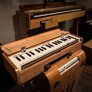 An Ondioline keyboard on display at the Musical Instrument Museum in Brussels. The Musee des Instruments de Musique (Musical Instrument Museum) in Brussels contains exhibits containing more than 2000 musical instruments. Displays include historical, exotic, and traditional cultural instruments from around the world. Visitors to the museum are given handheld audio guides that play musical demonstrations of many of the instruments. The museum is housed in the distinctive Old England Building.