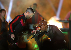 Maroon 5 frontman Adam Levine Photo by left) shares the stage with rapper Travis Scott durning the Super Bowl Halftime Show at Mercedes-Benz Stadium in Atlanta, GA, USA on Sunday, February 3, 2019. Photo by Curtis Compton/Atlanta Journal-Constitution/TNS/ABACAPRESS.COM