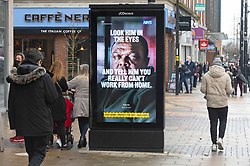 © Licensed to London News Pictures 15/02/2021.        Bexleyheath, UK. Coronavirus government advertising at the Broadway in Bexleyheath, South East London today during a third national coronavirus lockdown. Non-essential shops could open in weeks if the Covid-19 infection rate keeps dropping. Photo credit:Grant Falvey/LNP