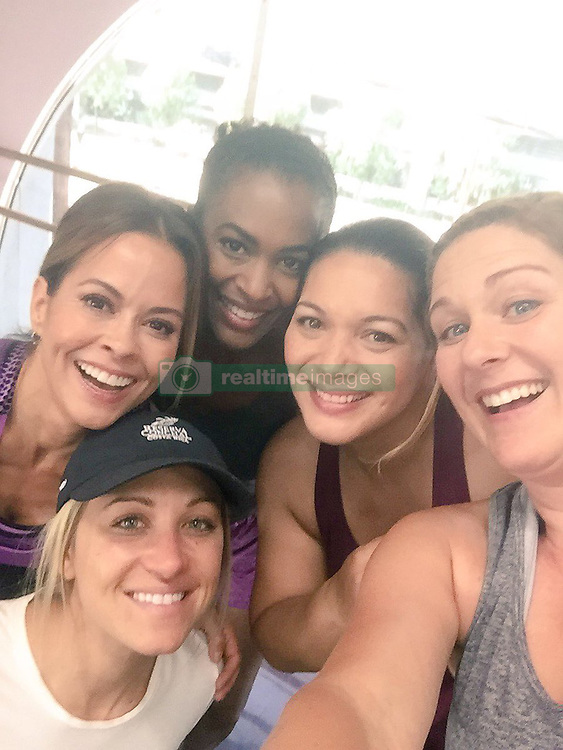 """Brooke Burke-Charvet releases a photo on Twitter with the following caption: """"""""Amazing day on set for a new @poise commercial. Brave women doing it all, high impact #NoExcuses #BootyBurn in Hollywood women4women"""""""". Photo Credit: Twitter *** No USA Distribution *** For Editorial Use Only *** Not to be Published in Books or Photo Books ***  Please note: Fees charged by the agency are for the agency's services only, and do not, nor are they intended to, convey to the user any ownership of Copyright or License in the material. The agency does not claim any ownership including but not limited to Copyright or License in the attached material. By publishing this material you expressly agree to indemnify and to hold the agency and its directors, shareholders and employees harmless from any loss, claims, damages, demands, expenses (including legal fees), or any causes of action or allegation against the agency arising out of or connected in any way with publication of the material."""