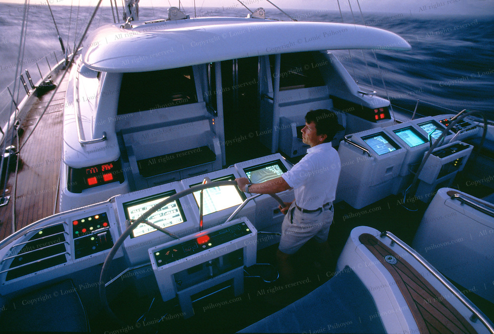 Hyperion's computers control and monitor over 7000 different functions of the boat from a running log of rig tension to the temperature of its wine cellar.