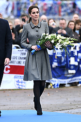 The Duchess of Cambridge visits The King Power Stadium to pay tribute to those who lost their lives in the Leicester City helicopter crash including Leicester City Chairman Vichai Srivaddhanaprabha