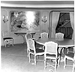 Interior shots of Aristotle Onassis's yacht Christina photographed in 1956.<br /> Picture shows one side of the dining-room.<br /> <br /> <br /> NON EXCLUSIVE - WORLD RIGHTS