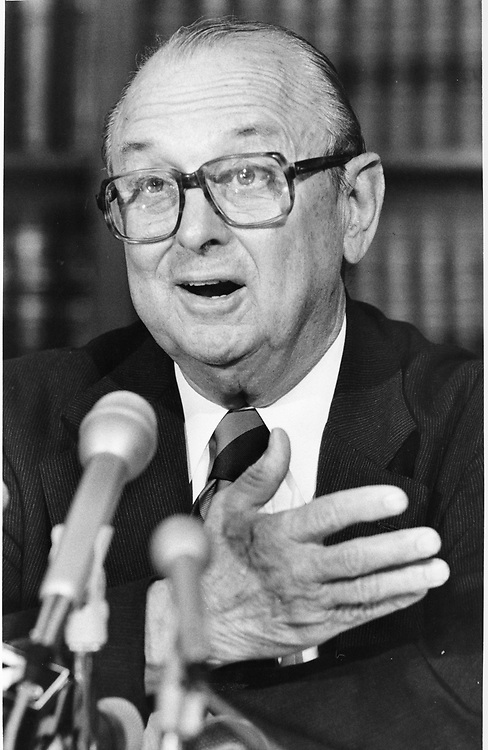 ©1985 Former Supreme Court Justice Joe Greenhill at a press conference