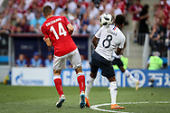 Henrik DALSGAARD of Denmark and Thomas LEMAR of France during the 2018 FIFA World Cup Russia, Group C football match between Denmark and France on June 26, 2018 at Luzhniki Stadium in Moscow, Russia - Photo Thiago Bernardes / FramePhoto / ProSportsImages / DPPI