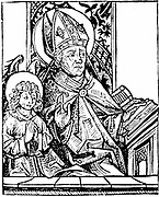 St Augustine of Hippo (350-430) one of the great fathers of early Christian church. Second figure is his son Ambrose. From Hartmann Schedel 'Liber chronicarum mundi'  Nuremberg, 1493. Woodcut