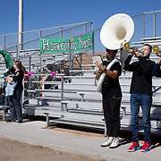 The Miami High School band plays during the Homecoming pep rally, students were socially distanced and participated from the football field, October 29, 2020, at Ragus Stadium, Miami, Arizona. The game the week before against St. John's was cancelled due to COVID-19.