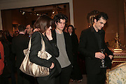 Louis Garel, Carla Bruni and Raphael Enthoven ( Carla's husband ). , private view of The Alberto Bruni Tedeschi Collection -  Sotheby's,19 March 2007.  -DO NOT ARCHIVE-© Copyright Photograph by Dafydd Jones. 248 Clapham Rd. London SW9 0PZ. Tel 0207 820 0771. www.dafjones.com.