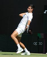 Tennis - 2021 All England Championships - Week One - Day Five (Friday) - Wimbledon<br /> Novak Djokovic v Denis Kudla <br /> <br /> Novak Djokovic<br /> <br /> <br /> CreditCOLORSPORT/Andrew Cowie