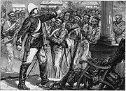 Indian Mutiny (Sepoy Mutiny) 1857-1859: Lt. De Kantzow at Mynpooree holding the mutineering 9th Sepoys at bay for three hours until rescued by an influential Indian. Wood engraving published London, c1880