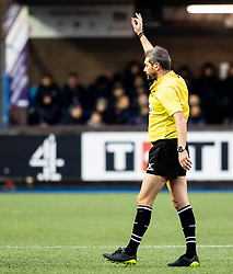 Referee Jérome Garcès awards a penalty<br /> <br /> Photographer Simon King/Replay Images<br /> <br /> European Rugby Champions Cup Round 4 - Cardiff Blues v Saracens - Saturday 15th December 2018 - Cardiff Arms Park - Cardiff<br /> <br /> World Copyright © Replay Images . All rights reserved. info@replayimages.co.uk - http://replayimages.co.uk