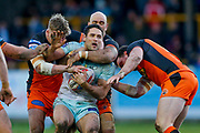 Widnes Vikings Hep Cahill (13) is stopped during the Betfred Super League match between Castleford Tigers and Widnes Vikings at the Jungle, Castleford, United Kingdom on 11 February 2018. Picture by Simon Davies.