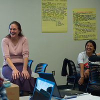 Professor Kelley Schaukar laughs with students as they discuss why nurse must have positive values and beliefs in their personal experiences at The University of New Mexico-Gallup.