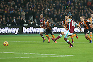 Mark Noble, West Ham United captain scores his sides 1st goal from a penalty. Premier league match, West Ham Utd v Hull city at the London Stadium, Queen Elizabeth Olympic Park in London on Saturday 17th December 2016.<br /> pic by John Patrick Fletcher, Andrew Orchard sports photography.