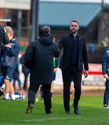 =Partick Thistle's manager Ian McCall and Dundee manager James McPake at the end. Dundee 1 v 3 Partick Thistle, Scottish Championship game player 19/10/2019 at Dundee stadium Dens Park.