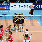 Fenerbahce Acibadem's players during their Women's Volleyball CEV Champions League semi final match at Burhan Felek Arena in Istanbul, Turkey on 20 March 2011. Photo by TURKPIX