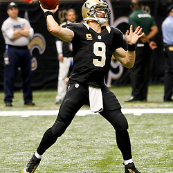 November 25, 2012; New Orleans, LA, USA; New Orleans Saints quarterback Drew Brees (9) against the San Francisco 49ers during the second half of a game at the Mercedes-Benz Superdome. The 49ers defeated the Saints 31-21. Mandatory Credit: Derick E. Hingle-US PRESSWIRE