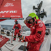 Leg 3, Cape Town to Melbourne, day 09, Sophie Ciszek   and Rob Greenhalgh on board MAPFRE. Photo by Jen Edney/Volvo Ocean Race. 18 December, 2017.