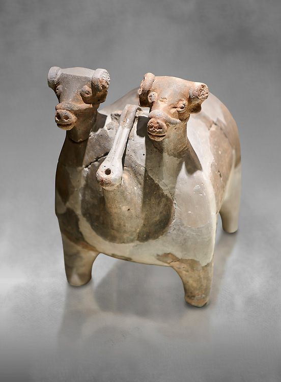 Bronze Age Anatolian terra cotta vtwo headed bull shaped ritual vessel - 19th to 17th century BC - Kültepe Kanesh - Museum of Anatolian Civilisations, Ankara, Turkey. .<br /> <br /> If you prefer to buy from our ALAMY PHOTO LIBRARY  Collection visit : https://www.alamy.com/portfolio/paul-williams-funkystock/kultepe-kanesh-pottery.html<br /> <br /> Visit our ANCIENT WORLD PHOTO COLLECTIONS for more photos to download or buy as wall art prints https://funkystock.photoshelter.com/gallery-collection/Ancient-World-Art-Antiquities-Historic-Sites-Pictures-Images-of/C00006u26yqSkDOM