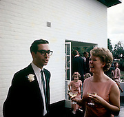 Young European couple at a wedding reception in Blantyre, Malawi in the mid-1960s.