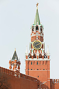 Spasskaya Tower, The Kremlin, Red Square, Moscow. Russia