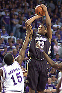 Colorado forward Julius Ashby (33) fires a shot over Kansas State's David Hoskins (15) during the first half of the Wildcats 72-60 win over the Buffaloes at Bramalage Coliseum in Manhattan, Kansas, February 18, 2006.