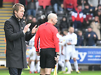 Football - 2018 / 2019 Sky Bet EFL Championship - Swansea City vs. Millwall<br /> <br /> Swansea City manager Graham Potter celebrates after his team's first goal, at The Liberty Stadium.<br /> <br /> COLORSPORT/WINSTON BYNORTH
