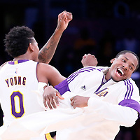 04 January 2014: Los Angeles Lakers forward Nick Young (0) celebrates with Los Angeles Lakers forward Ed Davis (21) during the Los Angeles Lakers 88-87 victory over the Indiana Pacers, at the Staples Center, Los Angeles, California, USA.