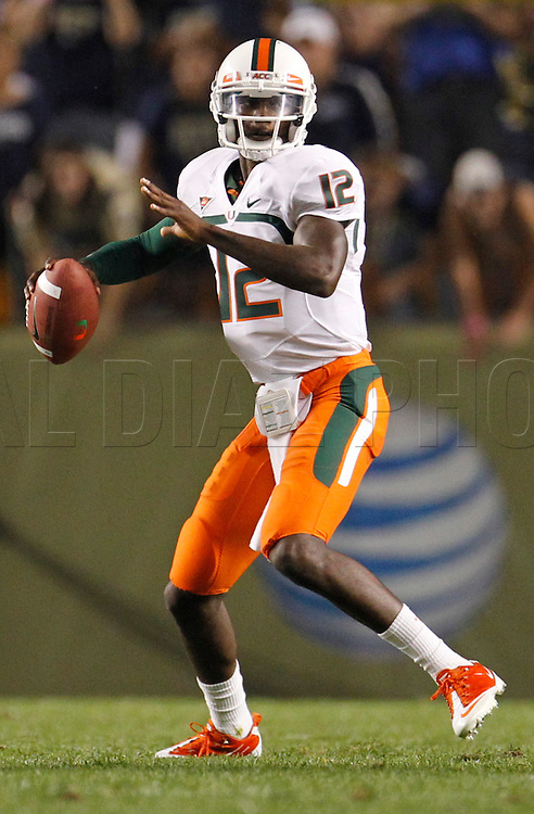 Miami Hurricanes quarterback Jacory Harris (12) looks to pass in the first quarter during The University of Miami  vs The University of Pittsburgh Panthers at Heinz Field in Pittsburgh, PA, on Thursday, September 23, 2010.